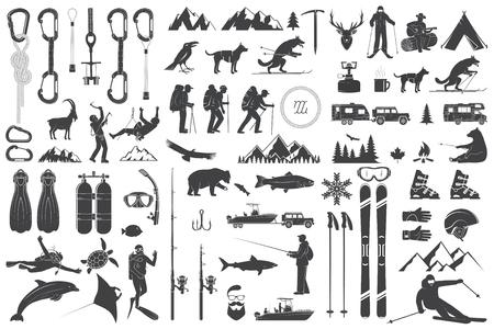 Alpinizm, piesze wycieczki, wspinaczka, wędkarstwo, jazda na nartach i inne ikony przygody. Ilustracje wektorowe