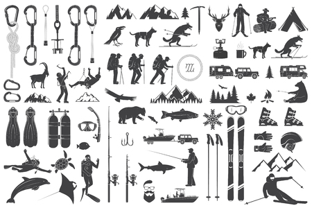 Mountaineering, hiking, climbing, fishing, skiing and other adventure icons. Ilustracja