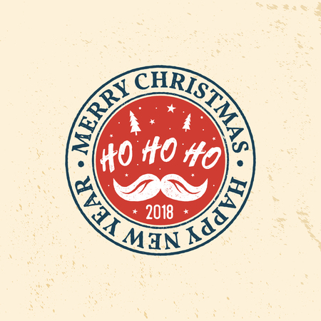Merry Christmas and Happy New Year 2018 retro template Illustration