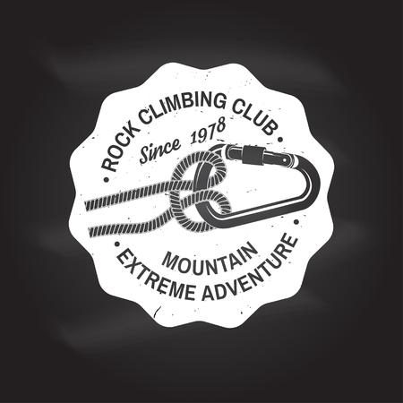 Diseño de tipografía vintage con nudo para atar rápidamente una cuerda de escalada y mosquetón. Foto de archivo - 89780671