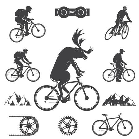 사이클링 산악 자전거 아이콘 세트 일러스트