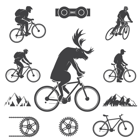 Set fietsen Mountain Bike Icons Stock Illustratie