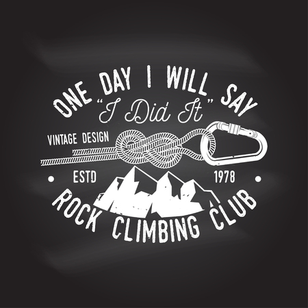 Vintage typography design with a straight gate locking carabiner for bolts, Goat and mountain silhouette
