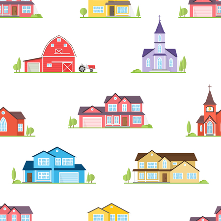 Suburban houses seamless pattern. Vector illustration. American houses, churches and farm seamless pattern.