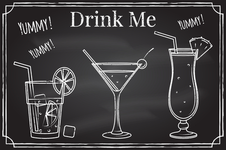 Set of cocktail icon. Drink me. Elements on the theme of the restaurant business.