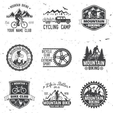 Set di club di mountain biking. Illustrazione vettoriale Archivio Fotografico - 89779690