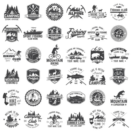 Set of extreme adventure badges. Concept for shirt or logo, print, stamp or tee. Çizim