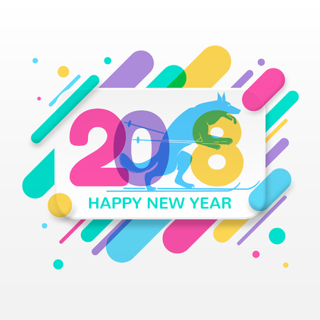 2018 Happy New Year greeting card Illustration