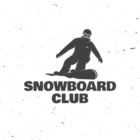 Snowboard Club. Vector illustration. Concept for shirt or logo, print, stamp or tee.