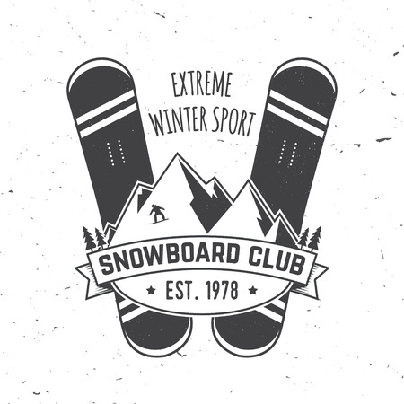 Snowboard Club. Vector illustration. Concept for shirt, print, stamp or tee. 向量圖像