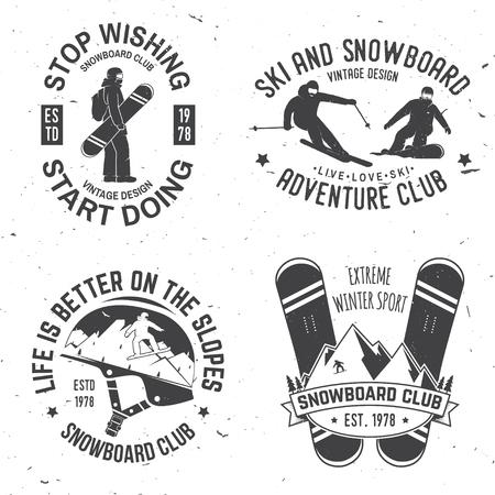 Aantal Insignes insignes voor ski en snowboard. Stock Illustratie