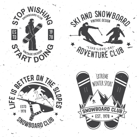Set of Ski and Snowboard Club insignia Badges. Illustration