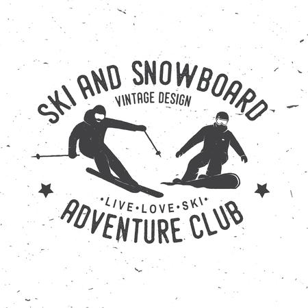 Ski- en snowboardclub. Vector illustratie.