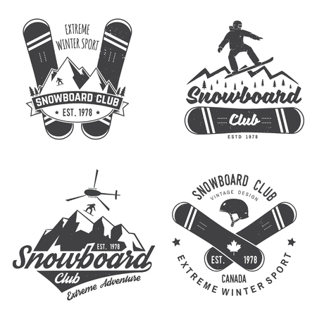 Set of Snowboard Club insignia.
