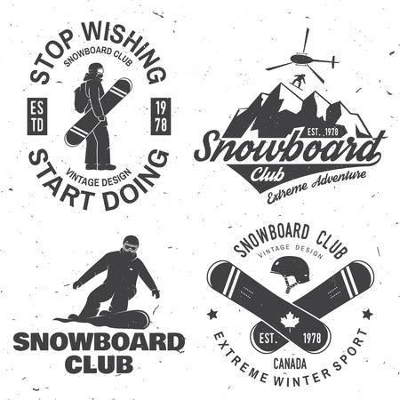 Set insignes van de Snowboard Club. Het leven is beter op de hellingen.