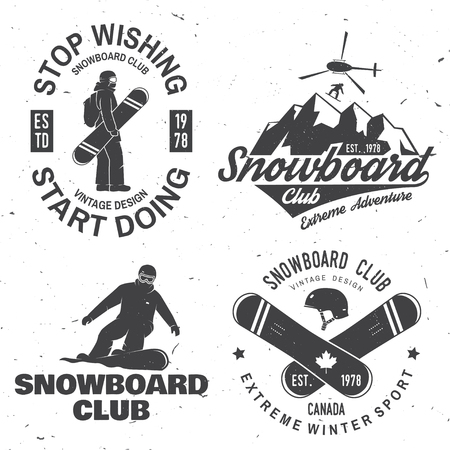 Set of Snowboard Club insignia. Life is better on the slopes.