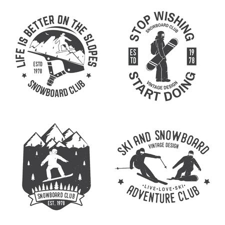 Set of Snowboard Club insignia.