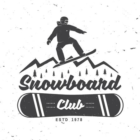 Snowboard Club. Vector illustratie. Concept voor shirt of logo, print, stempel of tee. Stock Illustratie