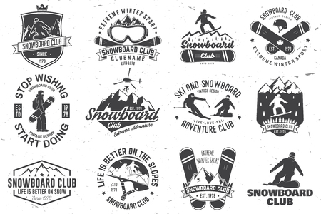 Set of Snowboard Club badges