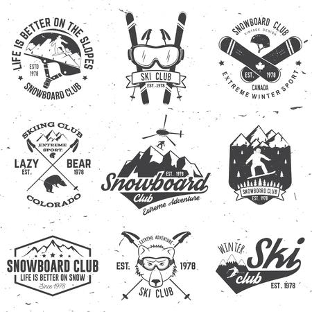 스키 및 스노우 보드 클럽 상징. 벡터 일러스트 레이 션.
