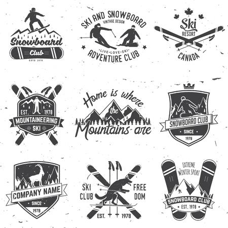 Ski and Snowboard Club emblem. Vector illustration.