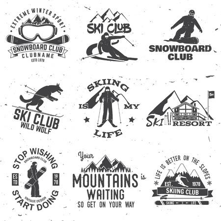 スキーとスノーボード クラブの紋章。ベクトルの図。  イラスト・ベクター素材
