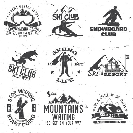 Ski and Snowboard Club emblem. Vector illustration. Reklamní fotografie - 90907207