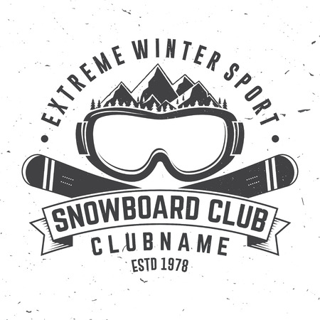 Snowboard Club. Vector illustratie. Concept voor shirt, print, stempel of tee. Stock Illustratie