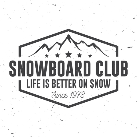 Snowboard Club. Vector illustration. Concept for shirt, print, stamp or tee. Vettoriali