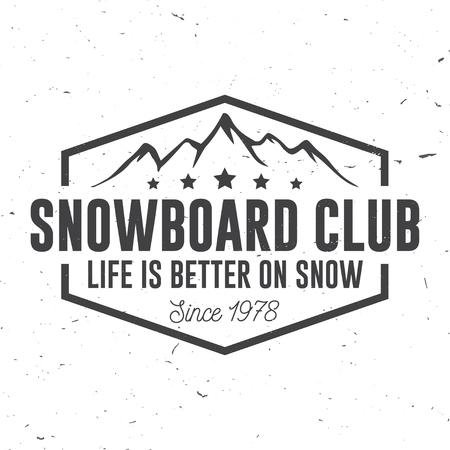 Snowboard Club. Illustrazione vettoriale Concetto per camicia, stampa, timbro o tee. Archivio Fotografico - 90907209