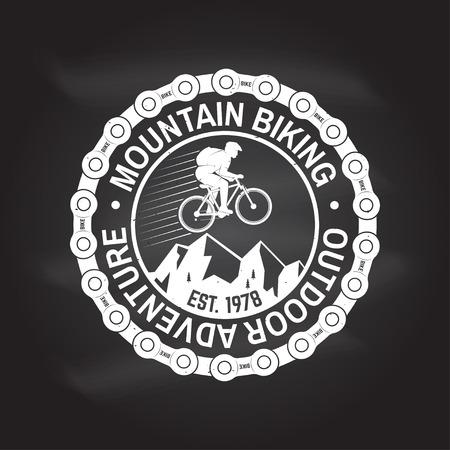 Mountain biking. Vector illustration. Stock Photo