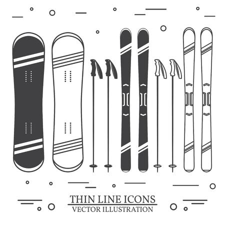 Ensemble d'icônes de silhouette de matériel de ski. Banque d'images - 90907216
