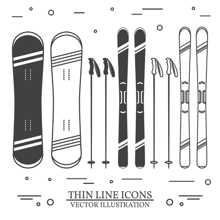 Set of skiing equipment silhouette icons.