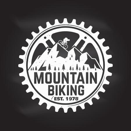 Mountain biking. Vector illustration. 스톡 콘텐츠