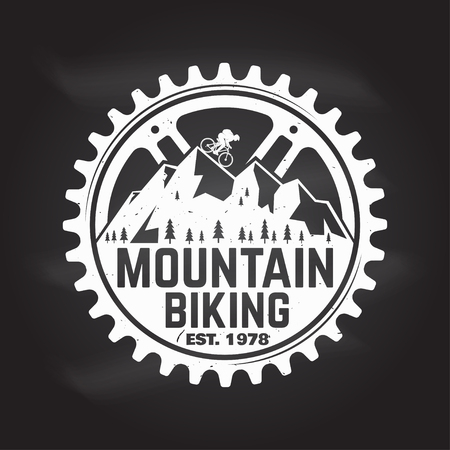 Mountain biking. Vector illustration. 版權商用圖片