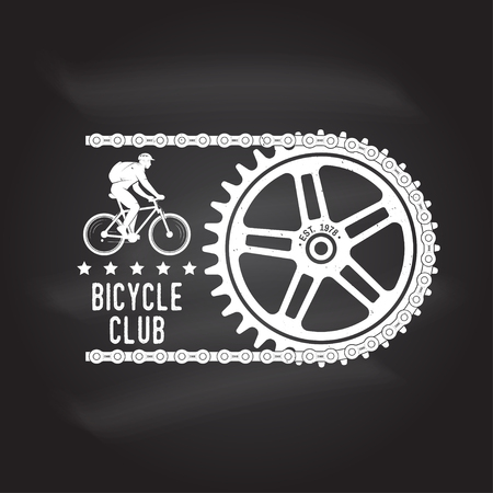 Vintage typography design with cycling Gear and chain silhouette. Extreme sport