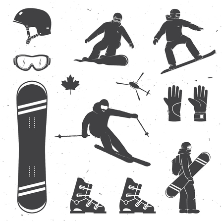 Set of winter sports equipment, skier and snowboarders silhouettes.