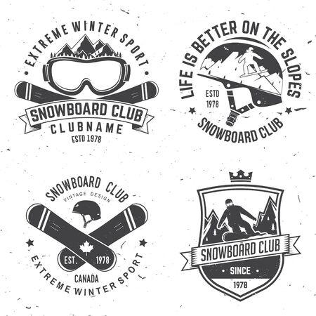 Set insignes van de Snowboard Club.