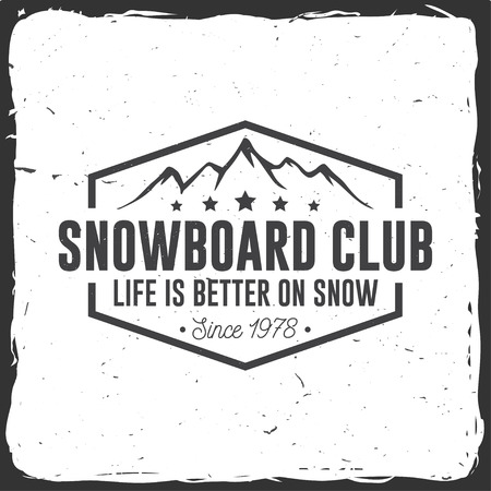 Snowboard Club. Vector illustration. Concept for shirt, print, stamp or tee. Vintage typography design with mountain silhouette. Extreme sport. Illustration