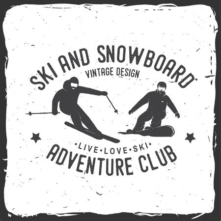 Ski- en snowboardclub. Vector illustratie. Concept voor shirt, print, stempel, badge of tee. Uitstekend typografieontwerp met snowboarder en skiërsilhouet. Winter Extreme sport.