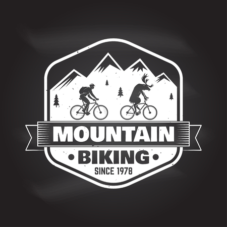 Mountain bike club. Vector illustration. Concept for shirt , print, stamp or tee. Vintage typography design with bike and mountain silhouette. Chalk drawing on a blackboard.