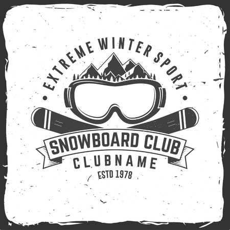 Snowboard Club. Vector illustration. Concept for shirt , print, stamp or tee. Vintage typography design with mountains and snowboard goggles silhouette. Extreme winter sport.