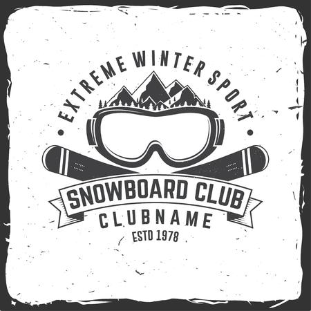 Snowboard Club. Vector illustratie. Concept voor shirt, print, stempel of tee. Vintage typografieontwerp met bergen en snowboard bril silhouet. Extreme wintersport.