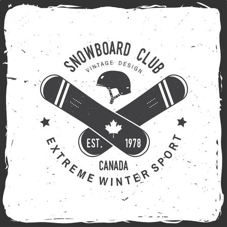 スノーボード クラブ。カナダ。ベクトルの図。シャツ、印刷の概念、スタンプや t シャツ。スノーボード、ヘルメットのシルエットのヴィンテージ