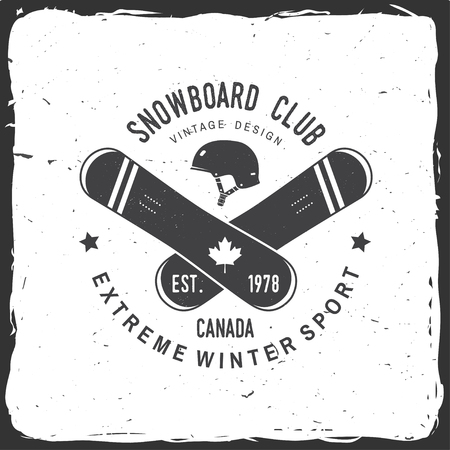 Snowboard Club. Canada. Vector illustration. Concept for shirt , print, stamp or tee. Vintage typography design with snowboard and helmet silhouette. Extreme winter sport.