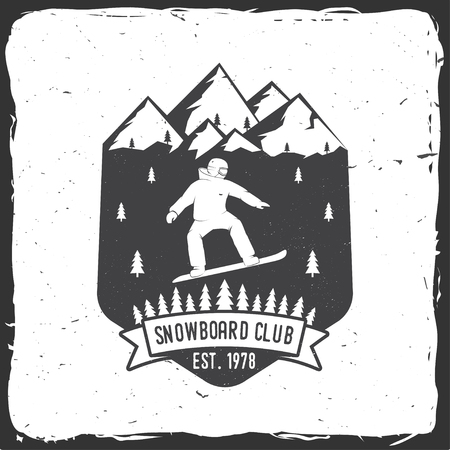 Snowboard Club. Vector illustration. Concept for shirt, print, stamp or tee. Vintage typography design with snowboard and mountain silhouette. Extreme sport. Illustration