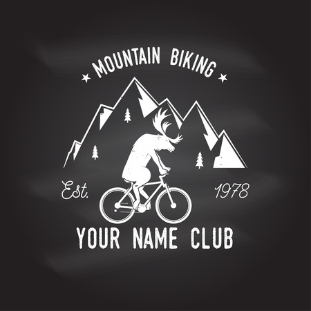 Mountain biking. Vector. Concept for head badges, shirt, print, stamp. Vintage typography design with deer rides a mountain bike silhouette. Chalk drawing on a blackboard. Illusztráció