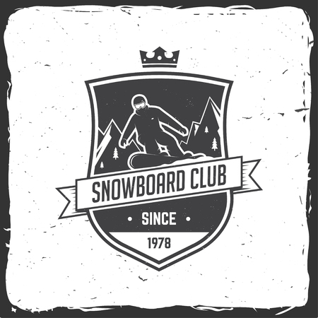 Snowboard Club. Vector illustration. Concept for shirt, print, stamp or tee. Vintage typography design with snowboarder and mountain silhouette. Extreme sport.