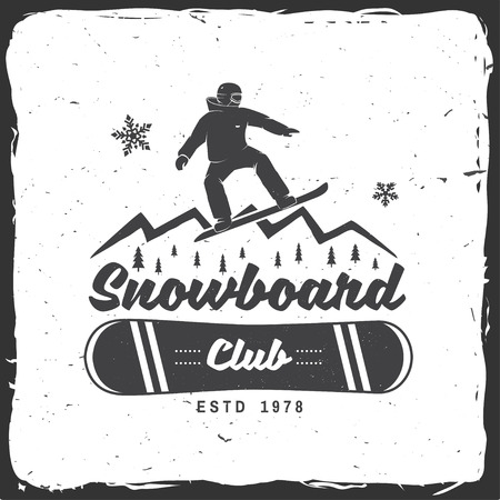 Snowboard Club. Vector illustratie. Concept voor shirt, print, stempel of tee. Vintage typografieontwerp met snowboard en bergsilhouet. Extreme sport.