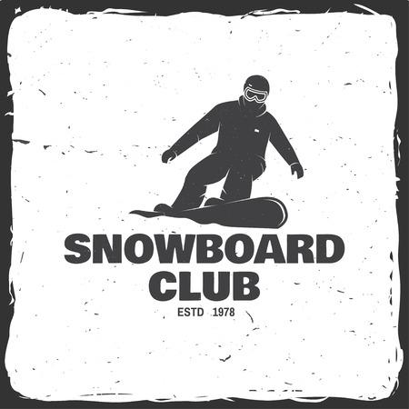 Snowboard Club. Vector illustratie. Concept voor shirt, print, stempel of tee. Vintage typografieontwerp met snowboarder silhouet. Extreme sport. Stock Illustratie